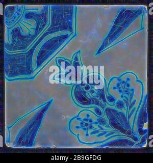 Carreaux d'ornement, décoration diagonale avec étoile ponctuelle, carreau mural sculpture céramique faïence glacer, four 2 x verni peint jaune carré deux trous d'ongle bleu sur blanc Banque D'Images