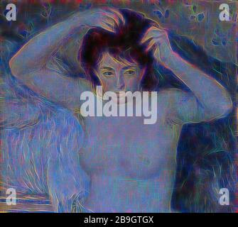 Pierre-Auguste Renoir : devant le bain (avant le bain), Pierre-Auguste Renoir, ch. 1875, huile sur toile, quand Renoir a présenté cette peinture publiquement lors d'une vente aux enchères de 1875 à Paris, le public a été choqué par son naturalisme. Plutôt que de représenter une déesse grecque rêveuse, comme cela avait été le cas dans la peinture européenne, Renoir nous donne une française ordinaire dans sa chambre, avec des cheveux sous ses bras et des vêtements de lit froissés en arrière-plan., dans l'ensemble: 32 5/16 x 26 3/16 in. (82 x 66,5 cm)