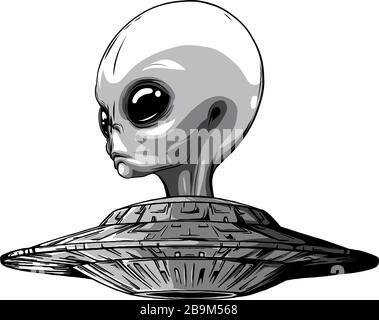 Aliens d'espace monochromatique. Icône OVNI. Illustration vectorielle Banque D'Images