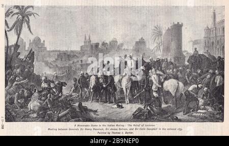 Le secours de Lucknow par Thomas J Barker - Réunion entre les généraux Sir Henry Havelock, Sir James Outram et Sir Colin Campbell dans la ville relevée.