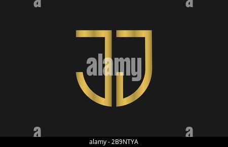 Lettre JJ monogramme et signe de bouclier combinaison. Logo Line art. Symbolise la fiabilité, la sécurité, l'alimentation et la sécurité. Banque D'Images