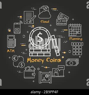 Vecteur noir finance et concept bancaire - monnaie Banque D'Images