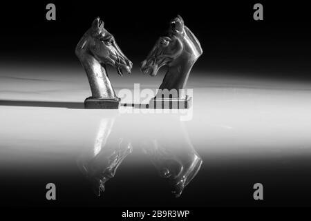 Gros plan photo d'échecs blancs isolés sur un fond blanc. Style asiatique vintage. Illuminé par un réflecteur avec une longue ombre derrière lui.