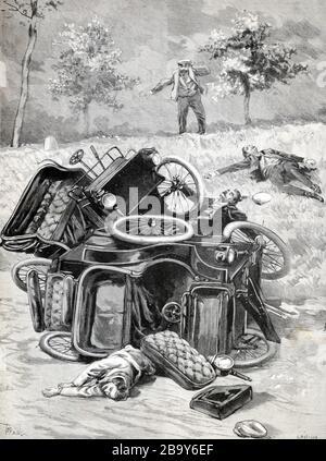 Accident de voiture précoce, accident de la route, accident de la circulation ou accident automobile 1898. Vintage ou ancienne illustration Banque D'Images