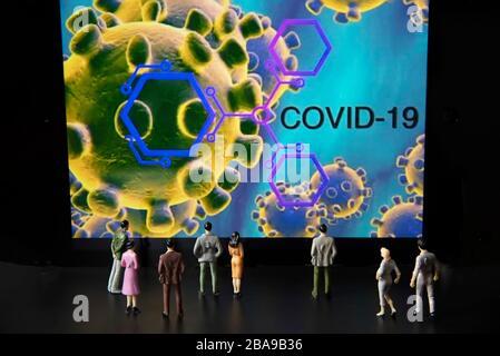 Coronavirus Covid-19 pandémie et interprétation des personnes Banque D'Images