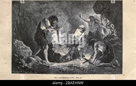 Faire feu selon l'illustrateur français Emile Bayard (1837-1891), illustration de l'œuvre publiée dans l'homme primitif par Louis Figuier (1819-1894), publiée à Londres par Chapman et Hall 193 Piccadilly en 1870 Banque D'Images