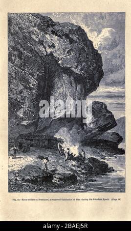 Neanderthal homme sous le refuge rocheux de la grotte de Bruniquel, France en temps préhistorique. Selon l'illustrateur français Emile Bayard (1837-1891), illustration de l'œuvre publiée dans l'homme primitif par Louis Figier (1819-1894), publiée à Londres par Chapman et Hall 193 Piccadilly en 1870 Banque D'Images