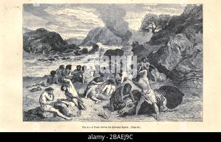 Une fête durant l'époque des rennes selon l'illustrateur français Emile Bayard (1837-1891), illustration de l'œuvre publiée dans l'homme primitif par Louis Figuier (1819-1894), publiée à Londres par Chapman et Hall 193 Piccadilly en 1870 Banque D'Images