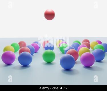 Leadership. Image conceptuelle d'un leader et de ses subordonnés. Travail d'équipe. Ballons colorés. rendu tridimensionnel Banque D'Images
