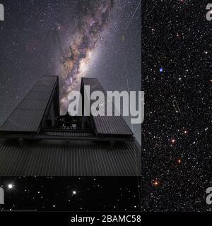 'English: La voie lactée contient des centaines de milliards d'étoiles. Cependant, l'étoile au centre de cette image est encore très inhabituelle, pas de féotre ! Une équipe brésilienne-américaine dirigée par Jorge Melendez, de l'Université de São Paulo, a utilisé deux des télescopes de l'ESO au Chili pour découvrir que cette étoile, nommée 2MASS J18082002–5104378, est une rare relique des années de formation de la voie lactée. En tant que tel, il offre aux astronomes une occasion précieuse d'explorer les premières étoiles qui ont sonné à la vie dans notre galaxie. 2 MASS J18082002–5104378 a été repéré en 2014 par le New Technology Telescope (NTT) d'ESO. FOL