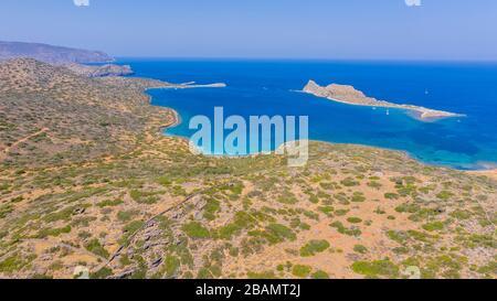 Vue aérienne de l'île de Kalydon, Crète, Grèce Banque D'Images