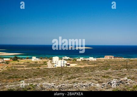 Vue panoramique sur le port de Kythera dans le village de Diakofti. Diakofti est situé près de la célèbre épave du navire 'Nordland', Diakofti Kythera, Grèce, Medite Banque D'Images