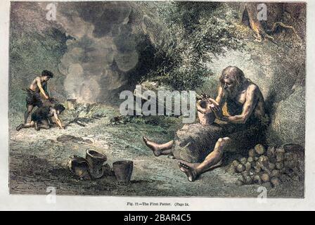 Le premier potter selon l'illustrateur français Emile Bayard (1837-1891), illustration de l'œuvre publiée dans Primitive Man par Louis Figuier (1819-1894), publiée à Londres par Chapman et Hall Piccadilly 193 en 1870 Banque D'Images
