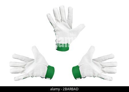 gants de travail avec doigts écarté. isolés sur fond blanc. placer pour le texte. Banque D'Images