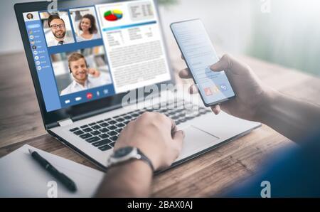 Discussion virtuelle avec des amis, des collègues et utilisation de la visioconférence. Apprentissage ou travail à distance. Quarantaine à domicile ou prévention du coronavirus infecti