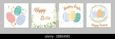 Tendre Happy Easter templates carré avec œufs, fleurs et typographie design easter vente, printemps sans couture modèle. Bon pour le printemps et les grands joyaux de Pâques Banque D'Images