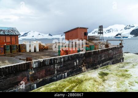 Station de recherche Argentine Almirante Brown, de l'Antarctique Banque D'Images