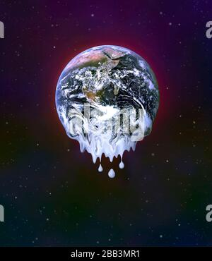 Le réchauffement de la planète tel qu'il est vu de l'espace! Une image numérique du réchauffement de la planète Terre et de la fonte de la glace antarctique. Banque D'Images