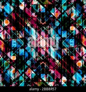 Motif géométrique complexe multicolore sans couture et grunge abstrait Banque D'Images