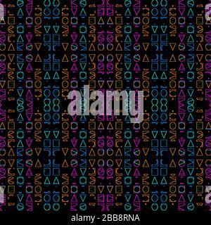 Formes géométriques abstraites numériques simples motif sans couture dans des couleurs éclatantes et mélangées sur fond blanc Banque D'Images