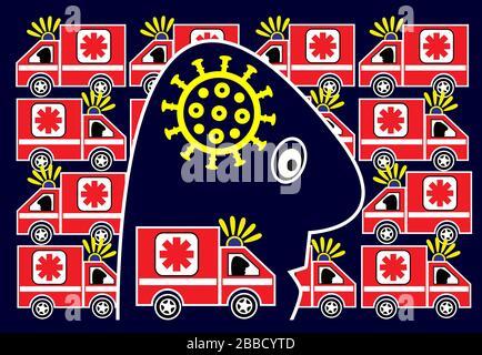Caricature de la personne en panique en raison de l'éclosion du virus mortel COVID-19.