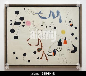 """Peinture du peintre moderniste espagnol Joan Miró intitulée """"Femme rêvant d'évasion"""" (1945) exposée dans la Fundació Joan Miró (Fondation Joan Miró) à Barcelone, Catalogne, Espagne. Banque D'Images"""