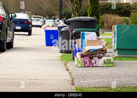 Bacs de recyclage complets et poubelles attendant d'être ramassés à Curbside, Pitt Meadows, B. C. Banque D'Images