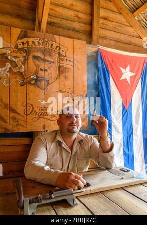 L'agriculteur du tabac fume le cigare à la ferme Manolo, à Vinales, dans la province de Pinar del Rio, à Cuba