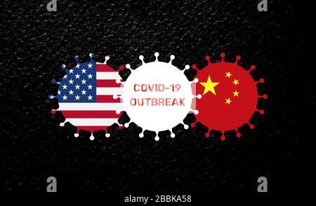L'Amérique et la chine ont le drapeau sur le virus covid-19.économie d'entreprise.effet pandémique.guerre mondiale Banque D'Images