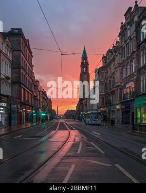 Scène dans la capitale écossaise d'Edimbourg - rues vides pendant l'épidémie de Covid-19.