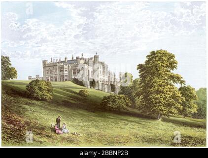 Une illustration colorée du château de Lambton, Chester-le-Street, est numérisée en haute résolution à partir d'un livre imprimé en 1870. Considéré comme libre de droits d'auteur. Banque D'Images