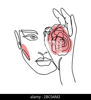Portrait, face avec rose. Une femme d'art de ligne continue, fille.