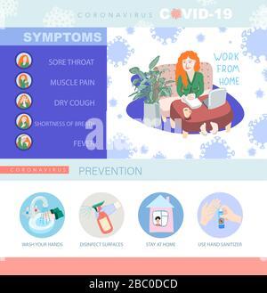 Poster d'information sur le coronavirus covid-19, collection de sources de motivation en quarantaine, virus wuhan 2019-nCoV Banque D'Images