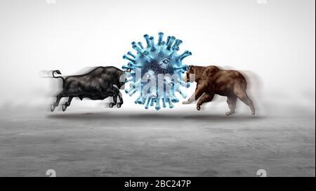 L'épidémie économique et pandémique et le virus boursier craignent ou la crise économique de bull et d'ours et la santé financière malade comme concept de récession d'affaires. Banque D'Images