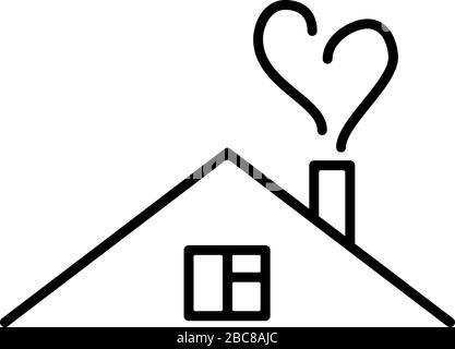 Illustration vectorielle d'une maison d'art de ligne avec fumée en forme de coeur. Poster de quarantaine, sensibilisation au coronavirus. Distance sociale, rester à la maison Banque D'Images