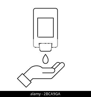 Distributeur de désinfectant pour les mains à montage mural avec une main. Icône de ligne. Bouteille de savon liquide à suspension murale automatique. Lavage et désinfection des mains. Vecteur, plat Banque D'Images