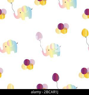 motif sans couture avec éléphants arc-en-ciel et ballons violets vectoriels