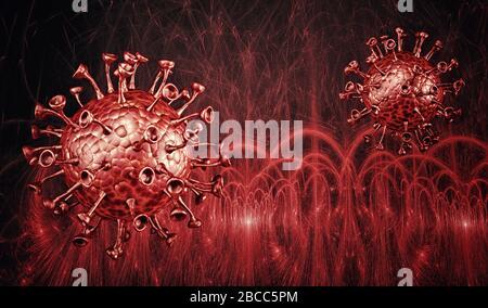 Vue microscopique de coronavirus, un pathogène qui s'attaque aux voies respiratoires. L'analyse et de test, d'expérimentation. Le SRAS. 3D render