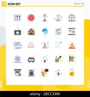 Symboles universels d'icône Groupe de 25 couleurs modernes plates de la caméra, recherche, phare, recherche, paramètres Editable Vector Design Elements Banque D'Images