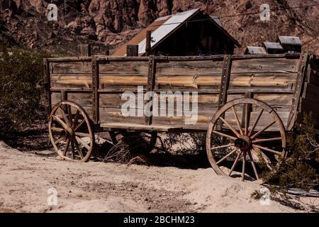 Chariot en bois, Nelson, Nevada, États-Unis Banque D'Images
