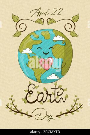 Happy Earth Day, 22 avril événement d'aide à l'environnement pour la sensibilisation mondiale aux soins de la nature. Jolie planète dessinée à la main tenant le coeur, le monde vert amour bande dessinée