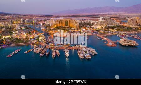 Eilat en Israël, vue aérienne sur la drone