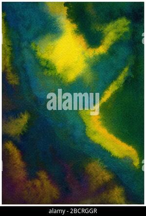 fond en papier grunge dans des teintes sombres de fond bleu, violet, vert et jaune, aquarelle abstraite Banque D'Images