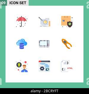 Interface mobile jeu de 9 pictogrammes d'éléments électriques, monétaires, textuels, informatiques, de conception vectorielle modifiable pour la sécurité Banque D'Images