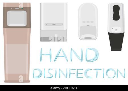 Jeu de différents modèles de solution désinfectante dans le distributeur de savon pour la désinfection. Désinfection composée d'un désinfectant accessoire dans le distributeur de savon. Aseptisant dans ainsi Banque D'Images