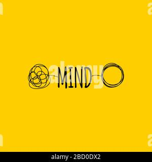 Symbole mental ou cerveau, mot d'esprit de dessin à la main, signe de coaching, icône de transformation, illustration vectorielle