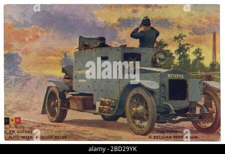 Carte postale historique française : véhicule automobile blindé belge Minerva à reconnaissance, Royaume de Belgique, guerre mondiale un 1914-1918. Banque D'Images