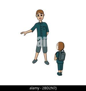 jeune père enseigne le fils. leçons de vie. enfant avec un porte-documents. enseignant et élève. illustration vectorielle de stock isolée