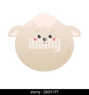 Jolie mouton Kawaii, agneau. Animal isolé sur un fond blanc. Illustration vectorielle Banque D'Images