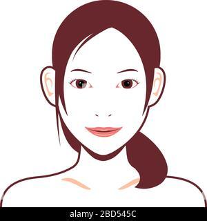 Jeune femme asiatique face illustration vectorielle